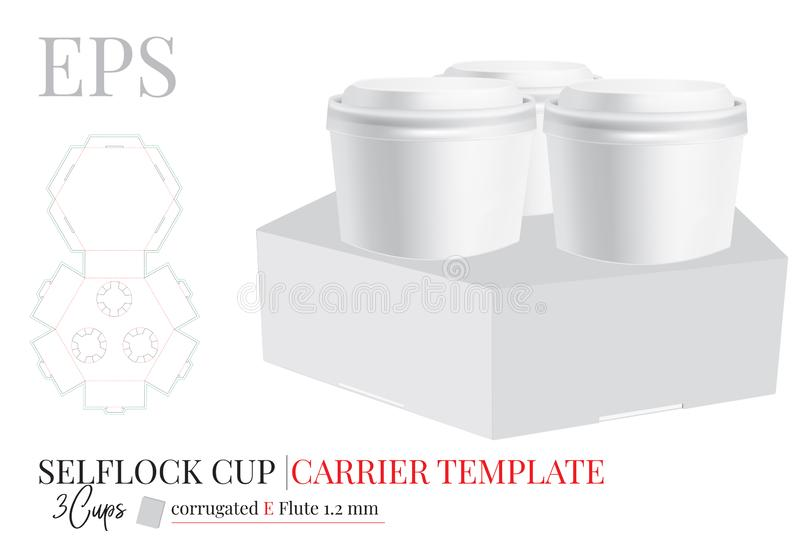 Plantilla del soporte de vaso, paquete de tres cervezas Vector con las l?neas cortado con tintas/del laser de corte Café, soporte libre illustration