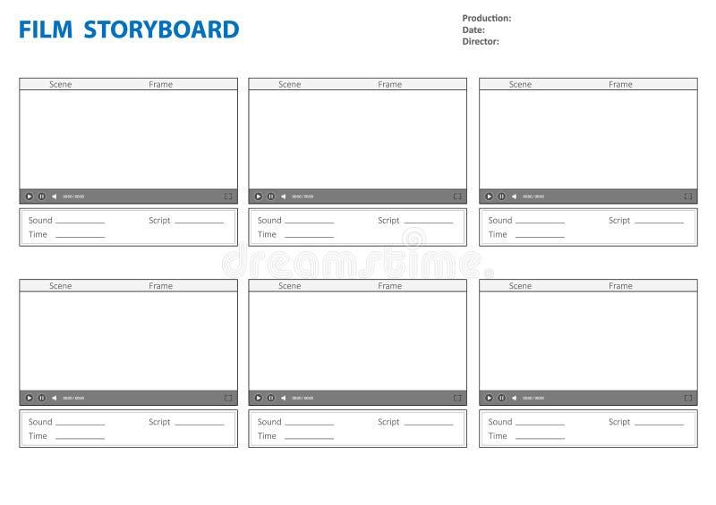 Plantilla del Storyboard para la historia de la película ilustración del vector
