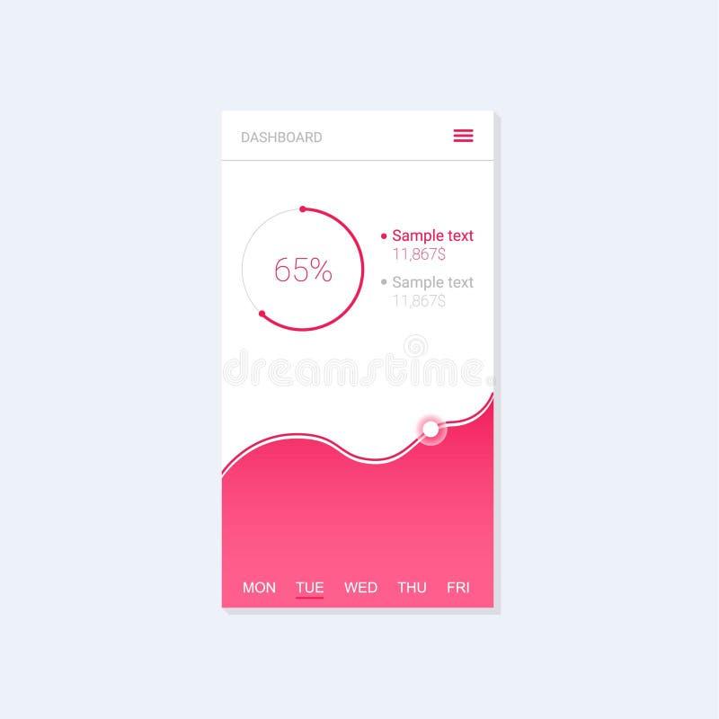 Plantilla del tablero de instrumentos de Infographic con los gráficos y las cartas planos del diseño Diseño móvil del app Proceso libre illustration