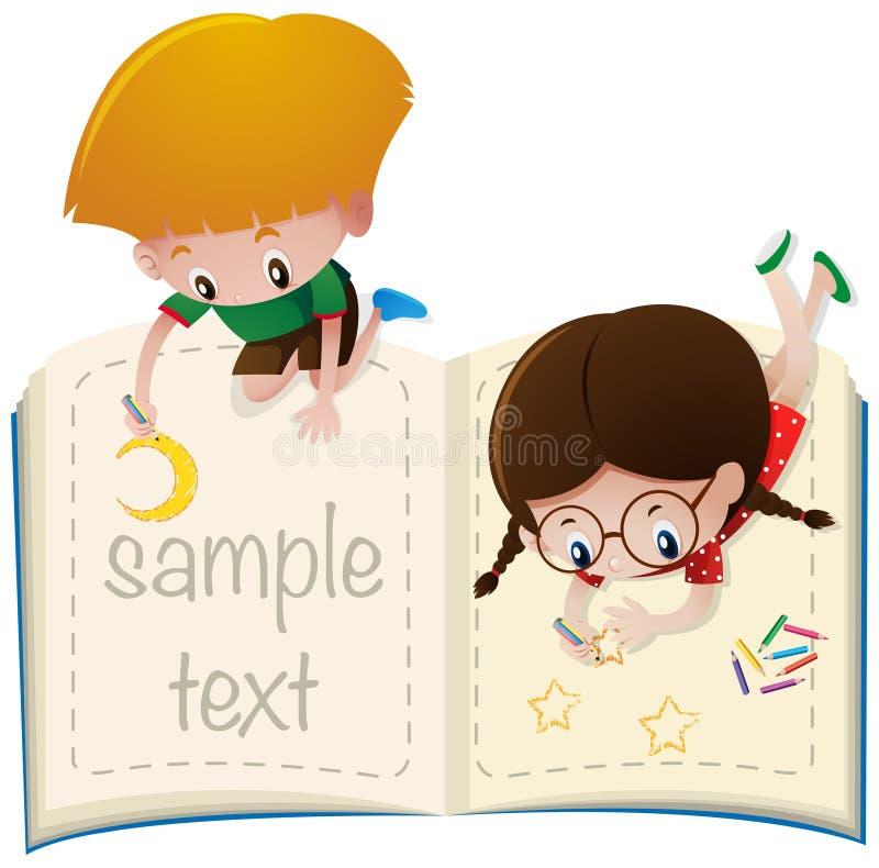Plantilla del texto de la muestra con el dibujo de los niños ilustración del vector