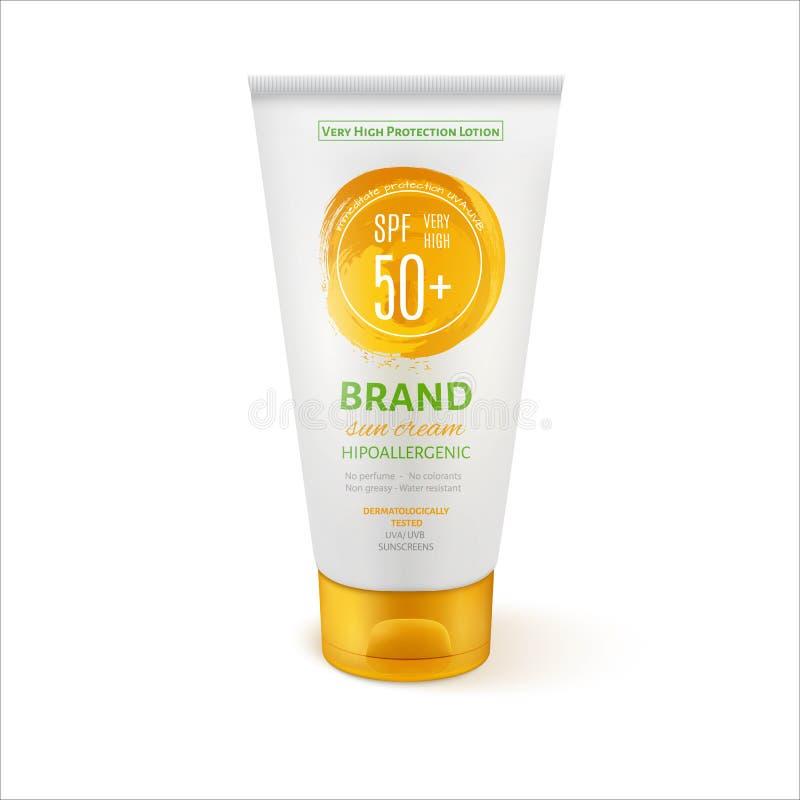 Plantilla del tubo de la crema del cuidado de Sun para los anuncios o el fondo de la revista libre illustration