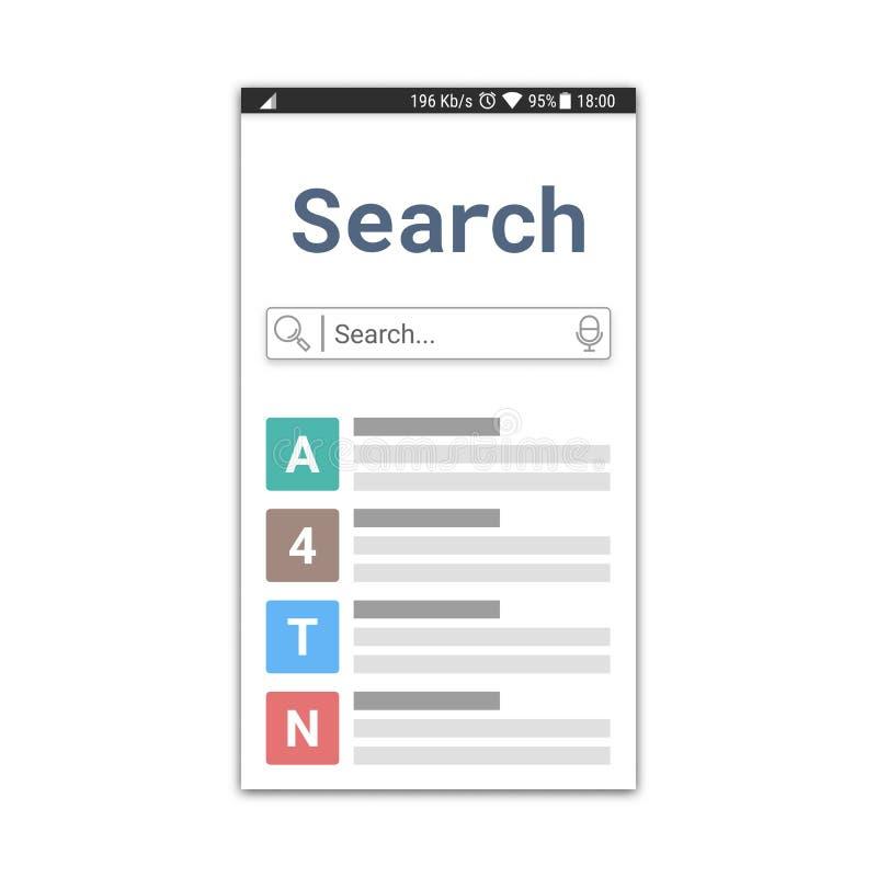 Plantilla del uso de la búsqueda o ventana del explorador Web con el campo de búsqueda y el icono que mecanografía de la voz Dise libre illustration
