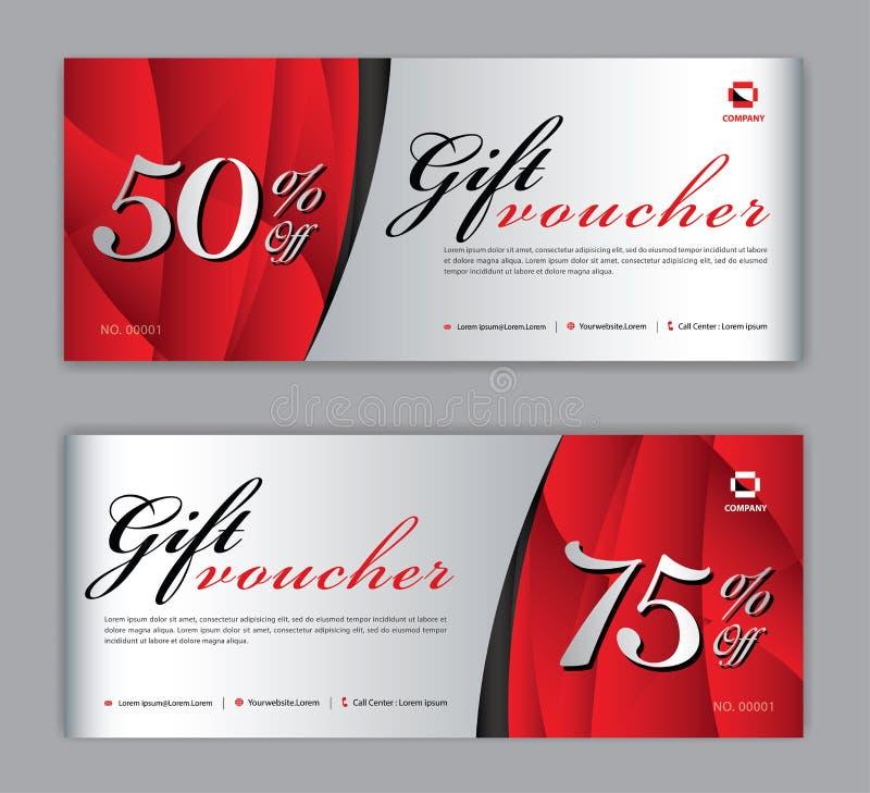 Plantilla del vale de regalo, bandera de la venta, disposición horizontal, tarjetas del descuento, jefes, página web, fondo rojo libre illustration