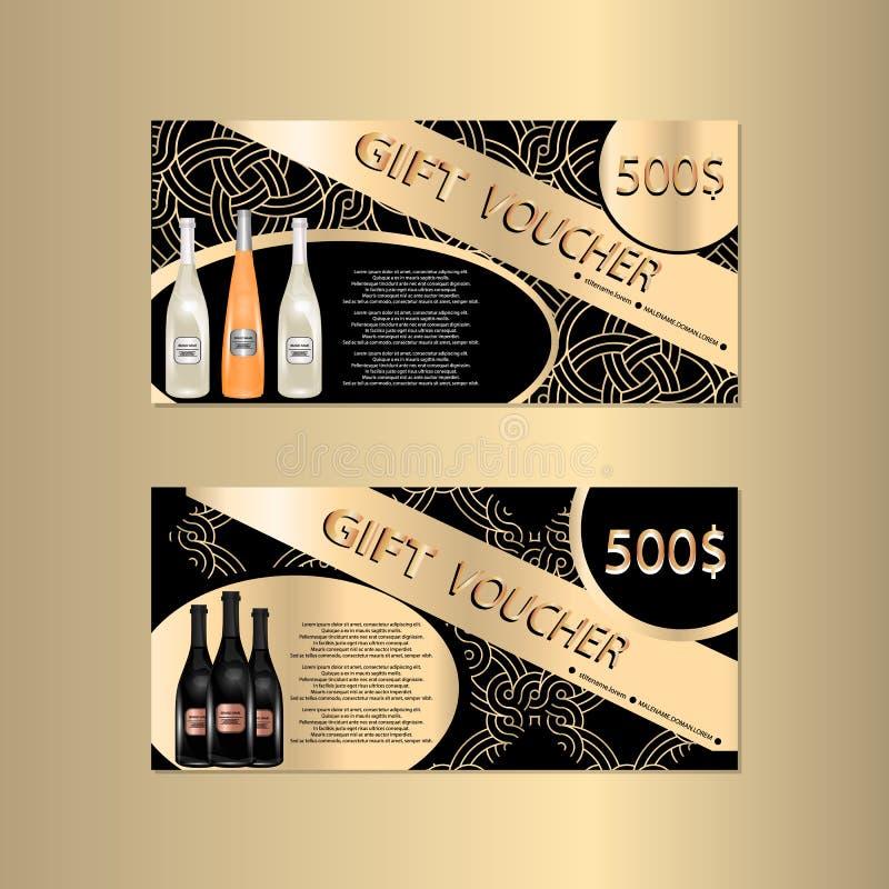 Plantilla del vale de regalo con Sparkls y botellas de vino para su Designt ilustración del vector