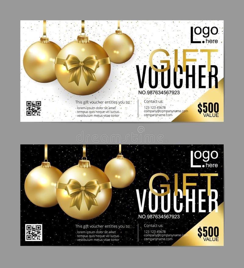 Plantilla del vale de regalo del vector con las bolas de la Navidad Tarjetas de oro, blancos y negros del día de fiesta del garab stock de ilustración