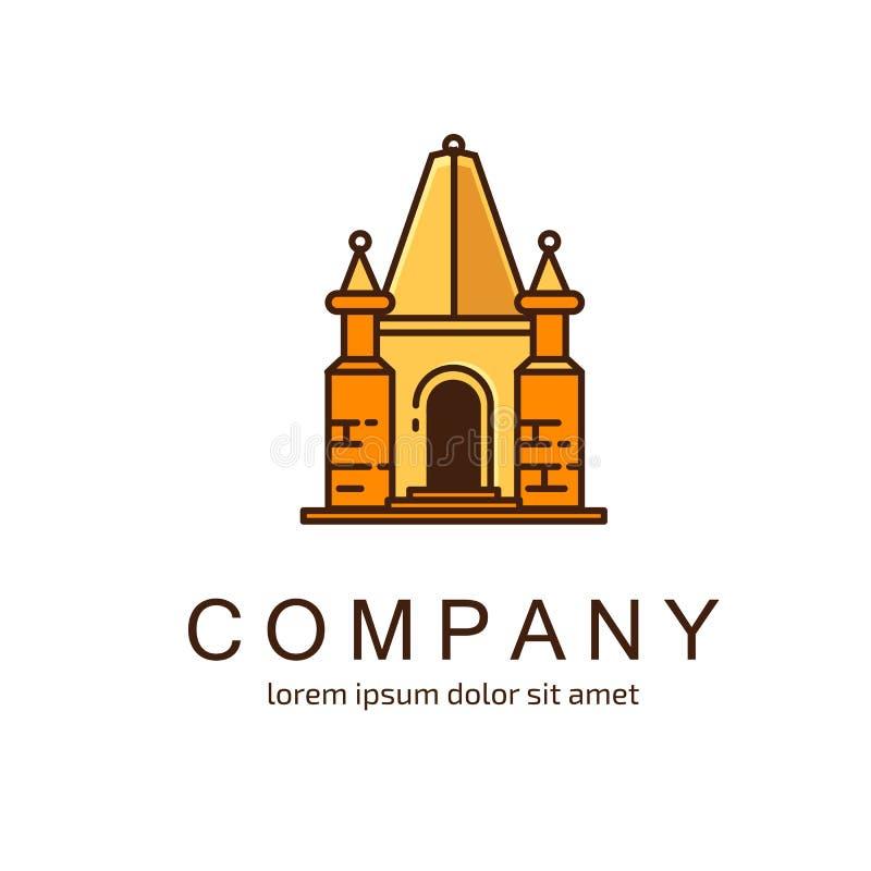Plantilla del vector del castillo del diseño del logotipo stock de ilustración