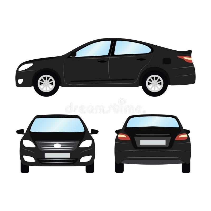 Plantilla del vector del coche en el fondo blanco Sedán del negocio aislado estilo plano del sedán negro vista delantera trasera  ilustración del vector