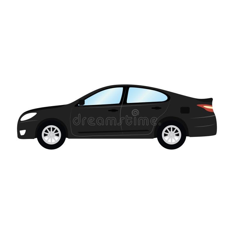 Plantilla del vector del coche en el fondo blanco Sedán del negocio aislado estilo plano del sedán negro Vista lateral stock de ilustración