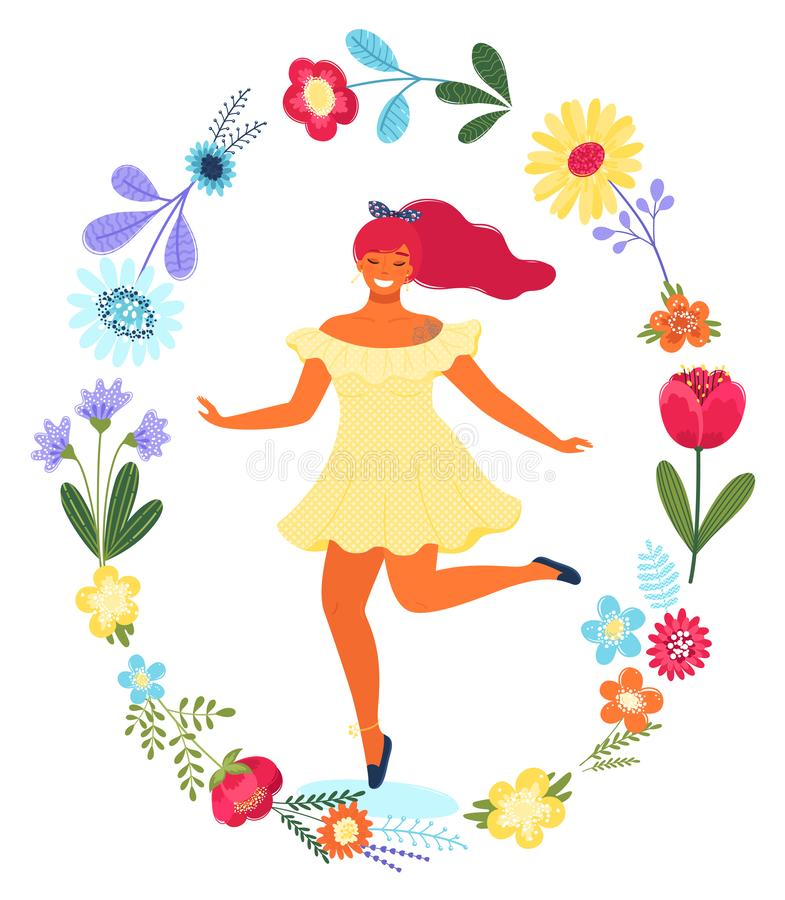 Plantilla del vector con la mujer feliz en el círculo de la flor Ejemplo colorido plano moderno del vector ilustración del vector