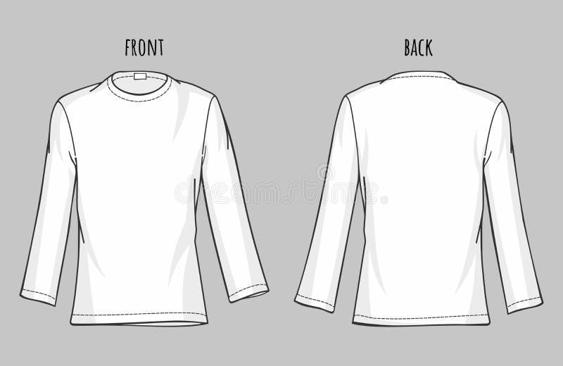 Plantilla del vector de la camisa de manga larga de los hombres ilustración del vector