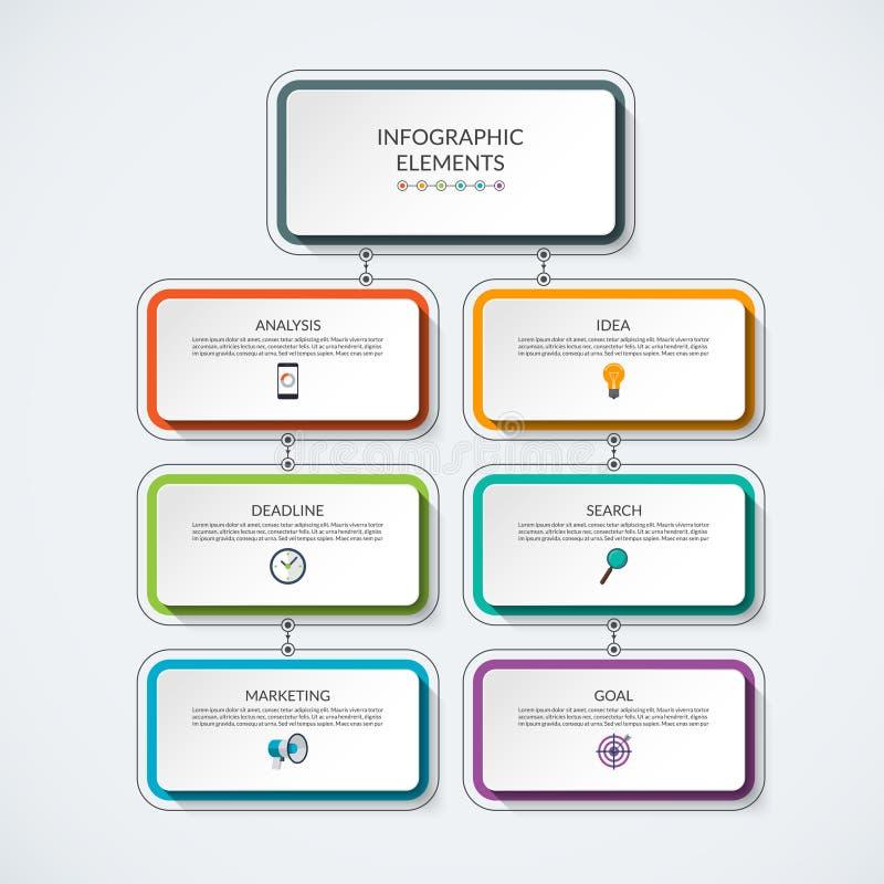 Plantilla del vector de la carta de proceso de Infographic stock de ilustración