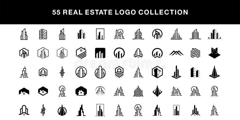 plantilla del vector de la colección del diseño del logotipo de las propiedades inmobiliarias 55 libre illustration