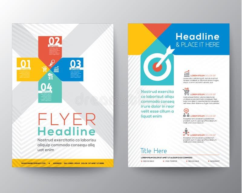 Plantilla del vector de la disposición de diseño gráfico del aviador del folleto stock de ilustración