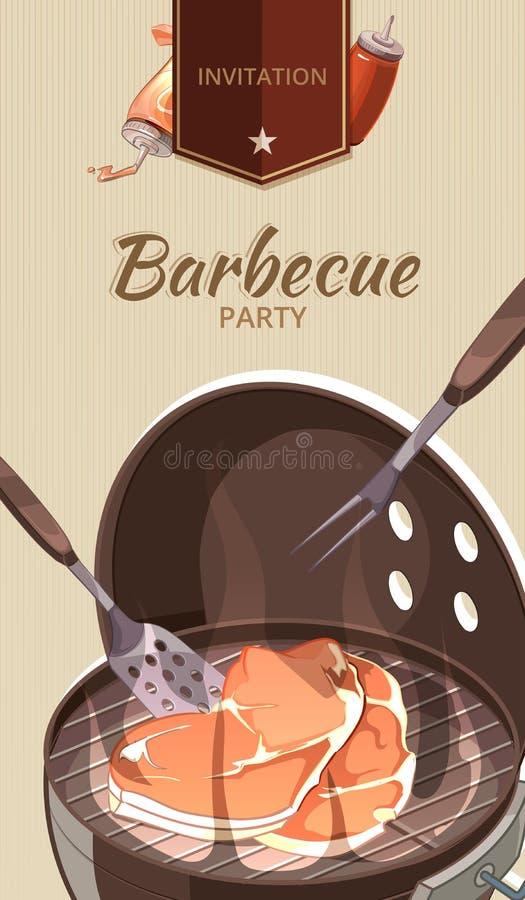 Plantilla del vector de la invitación del partido del Bbq de la barbacoa ilustración del vector