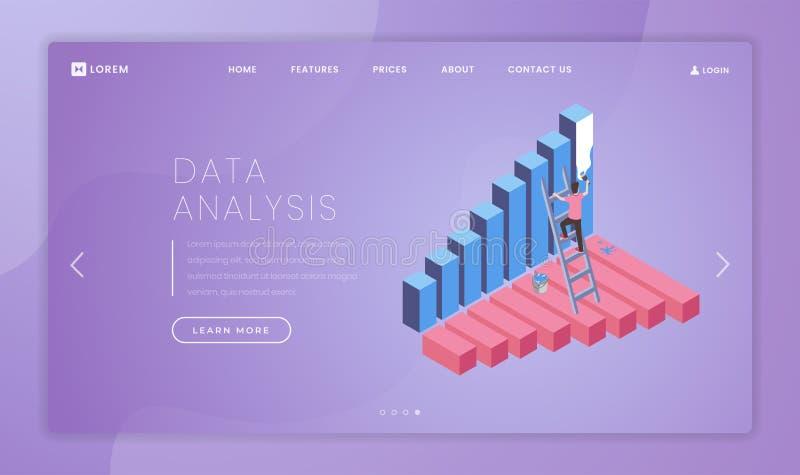 Plantilla del vector de la página del aterrizaje del analytics del negocio Idea financiera del interfaz del homepage de la página ilustración del vector