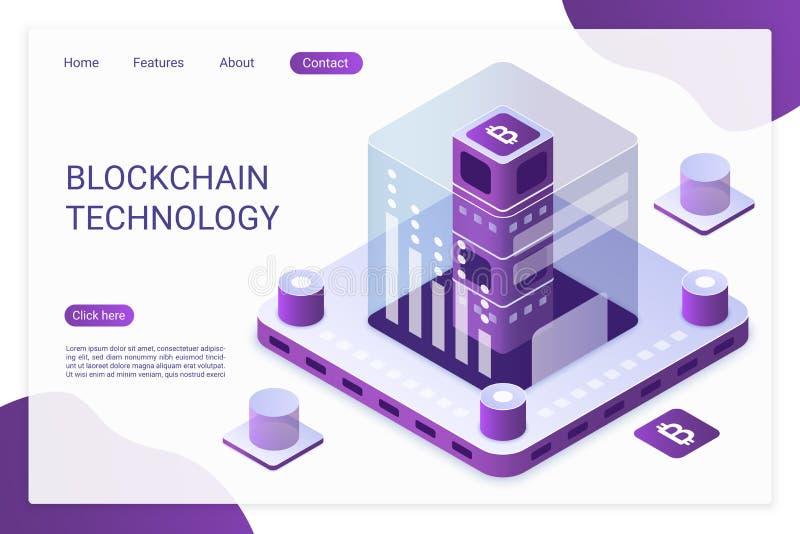 Plantilla del vector de la página del aterrizaje de la tecnología de Blockchain Transacciones financieras de Bitcoin, disposición ilustración del vector