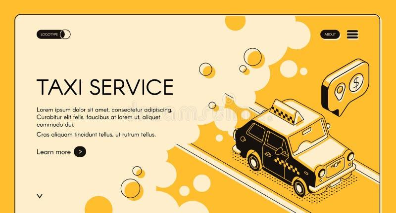 Plantilla del vector de la página web del servicio del taxi que ordena stock de ilustración