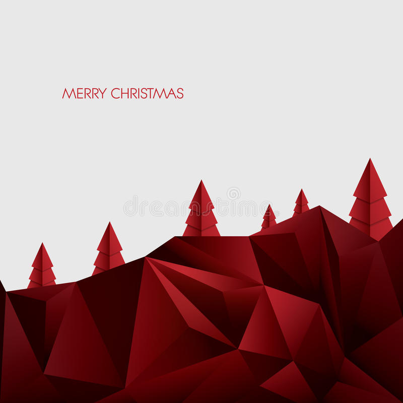 Plantilla del vector de la tarjeta de la papiroflexia de la Navidad poligonal ilustración del vector
