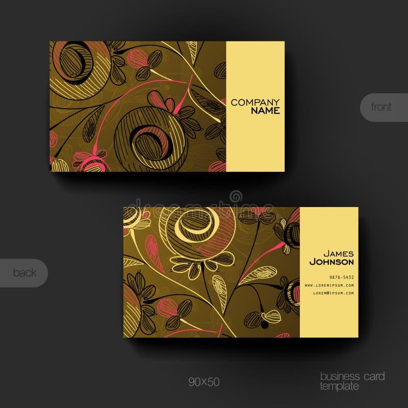 Plantilla del vector de la tarjeta de visita con el ornamento floral libre illustration