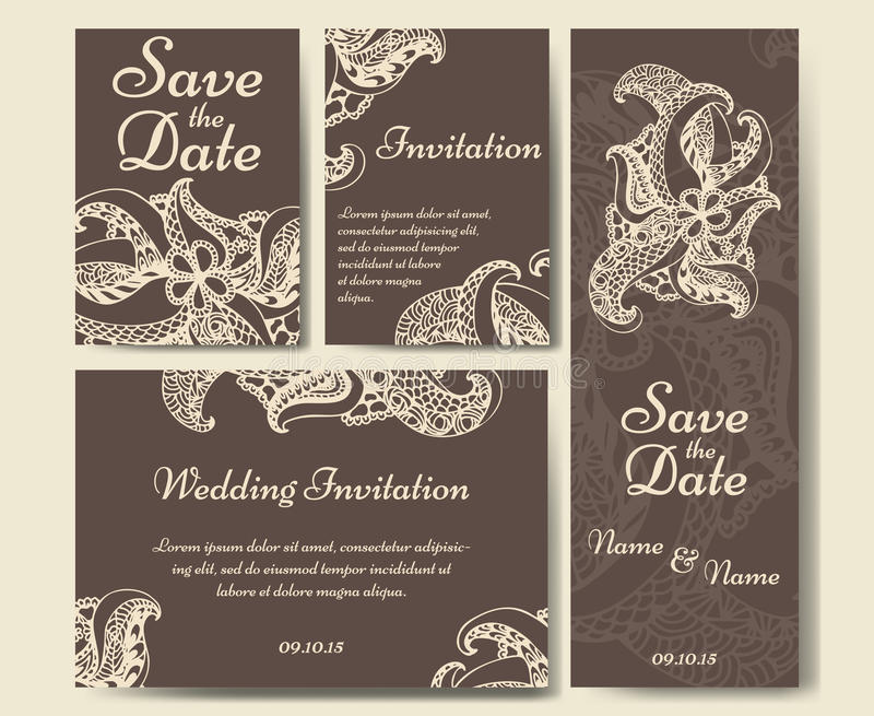 Plantilla del vector de la tarjeta para casarse El sistema de las invitaciones para le agradece cardar, ahorra la tarjeta de fech ilustración del vector