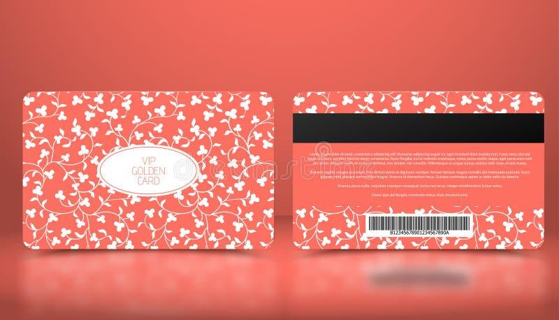 Plantilla del vector de la tarjeta rosada coralina del VIP de la calidad de miembro o de la lealtad con el estampado de flores bl stock de ilustración