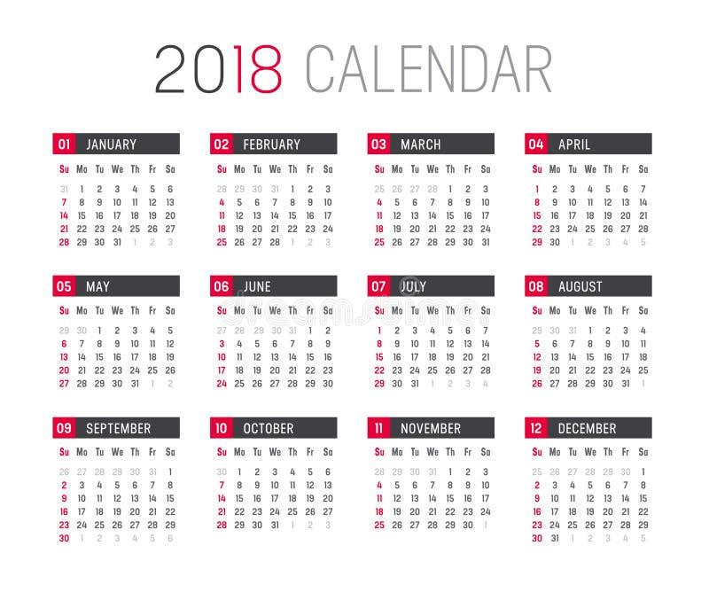 Plantilla Del Vector Del Calendario Del Año 2018 Ilustración del ...