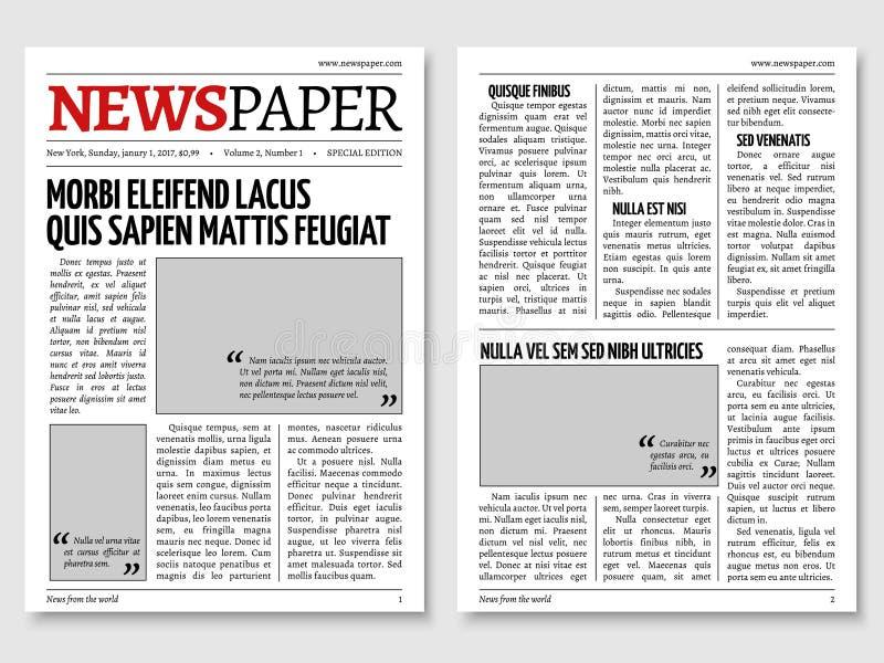 Plantilla del vector del diario del periódico del vintage libre illustration