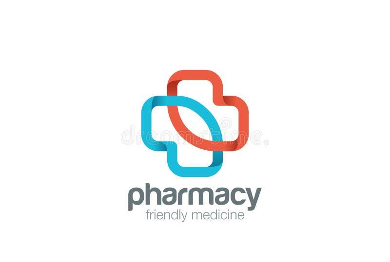Plantilla del vector del diseño de la cruz del verde del eco del logotipo de la farmacia Icono del concepto del logotipo de la me stock de ilustración