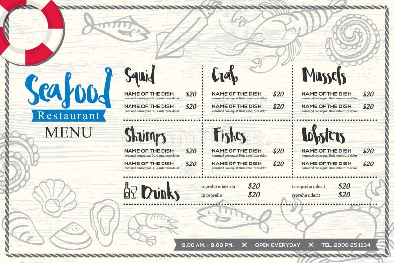 Plantilla del vector del diseño del menú del placemat del restaurante de los mariscos con el gráfico dibujado mano stock de ilustración