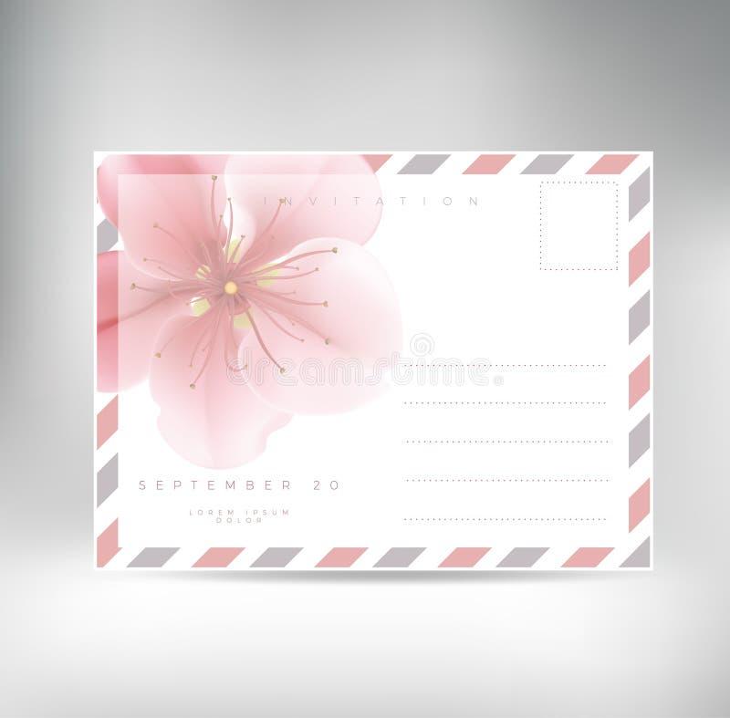 Plantilla del vector del fondo de la postal del vintage para casarse la invitación libre illustration