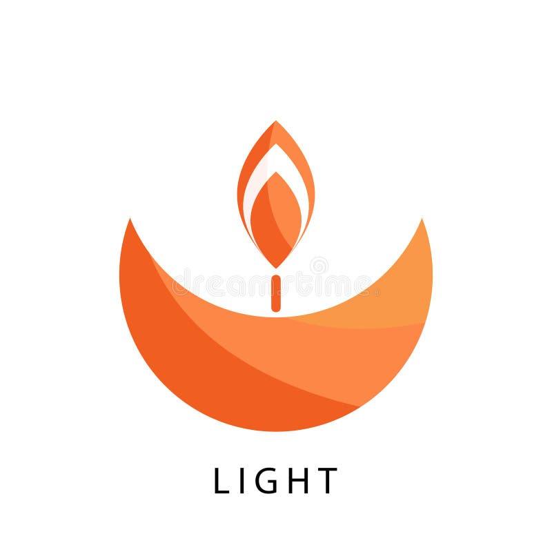 Plantilla del vector del logotipo de la vela Icono estilizado de la religión y de la caridad libre illustration