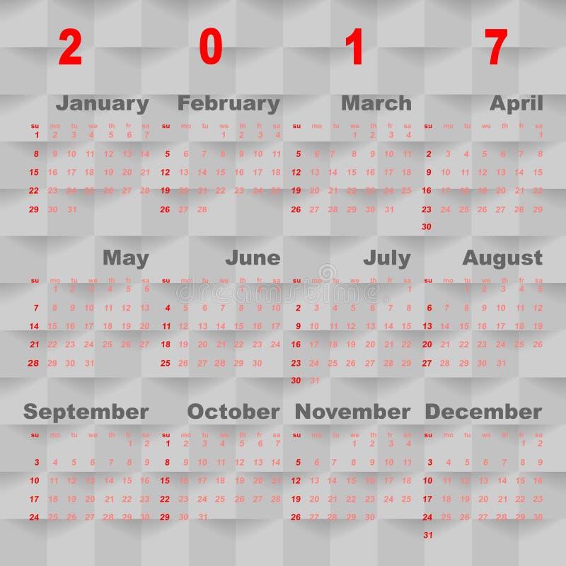 Plantilla del vector del negocio del calendario 2017 en backgro cuadrado gris ilustración del vector