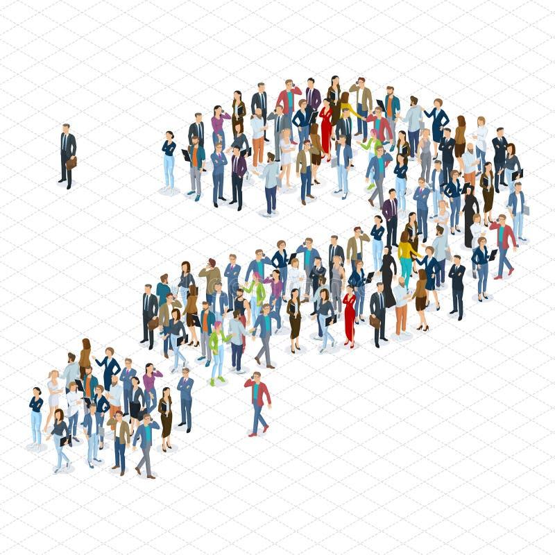 Plantilla del vector del signo de interrogación de la muchedumbre de la gente ilustración del vector