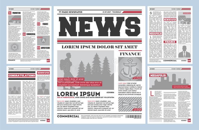 Plantilla del vector del diario del periódico del vintage stock de ilustración