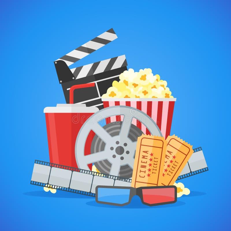 Plantilla del vector del diseño del cartel de película del cine en fondo azul ilustración del vector