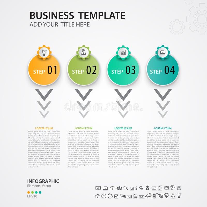 Plantilla del vector del diseño de Infographics, cronología, carta de proceso, presentación, diagrama, concepto creativo para inf ilustración del vector