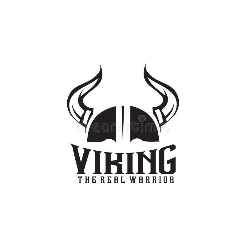 Plantilla del vector del diseño del logotipo del casco de Viking ilustración del vector