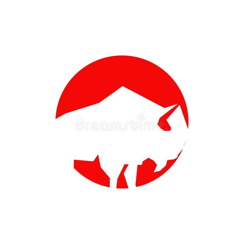 Plantilla del vector del diseño del logotipo de Bull stock de ilustración