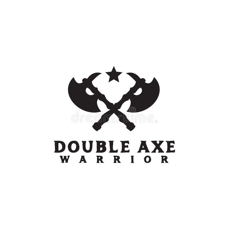 Plantilla del vector del diseño del logotipo de las hachas dobles libre illustration