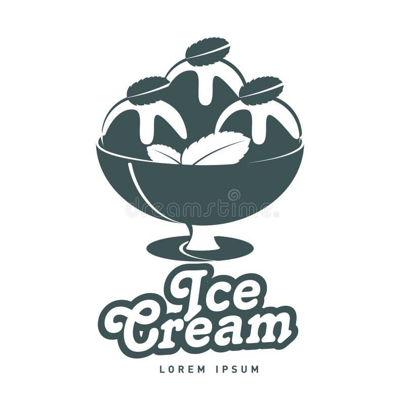 Plantilla del vector del diseño del logotipo del helado stock de ilustración