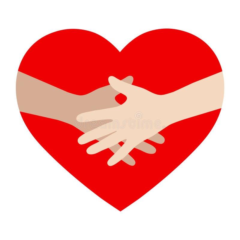 Plantilla del vector del diseño del logotipo Valentine Day Love Concept: de común acuerdo en fondo del corazón ilustración del vector