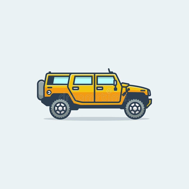 Plantilla del vector del ejemplo del concepto del ejemplo del coche del martillo ilustración del vector