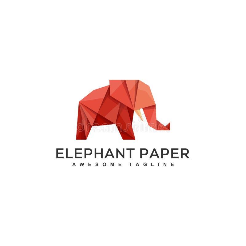 Plantilla del vector del ejemplo del concepto de diseño del elefante de la papiroflexia ilustración del vector