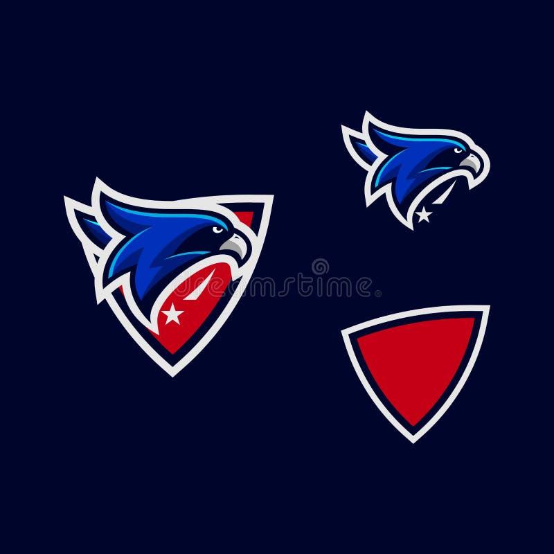 Plantilla del vector del ejemplo de los diseños del color de Eagle de la cabeza del deporte stock de ilustración