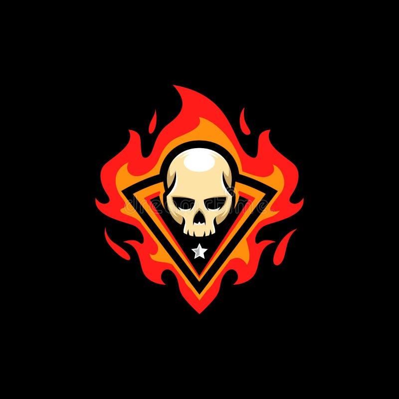 Plantilla del vector del ejemplo del fuego del cráneo stock de ilustración