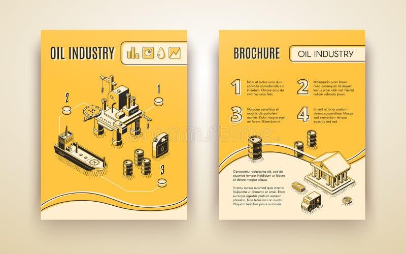 Plantilla del vector del folleto de compañía de la industria de petróleo stock de ilustración