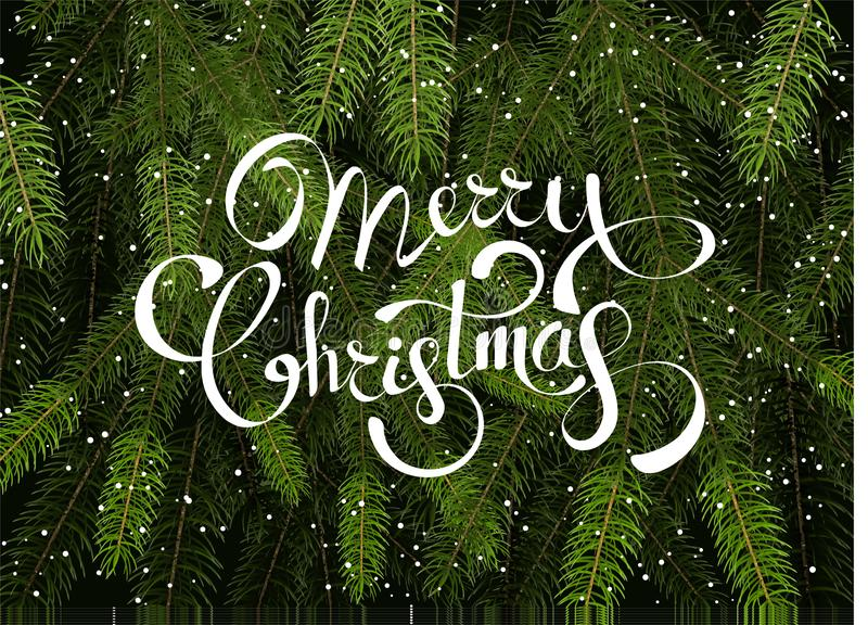 Plantilla del vector del fondo de la Feliz Navidad con las ramas de árbol verdes de abeto fotografía de archivo libre de regalías