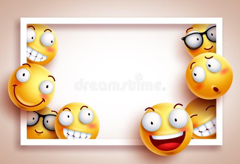 Plantilla del vector del fondo de los smiley con el marco blanco del huésped stock de ilustración