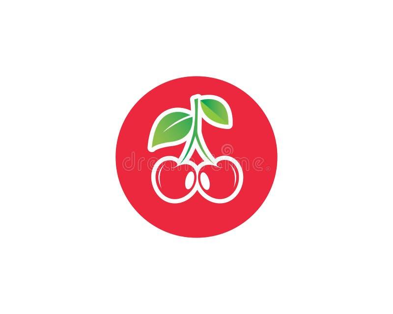 plantilla del vector del icono de la fruta de la cereza stock de ilustración
