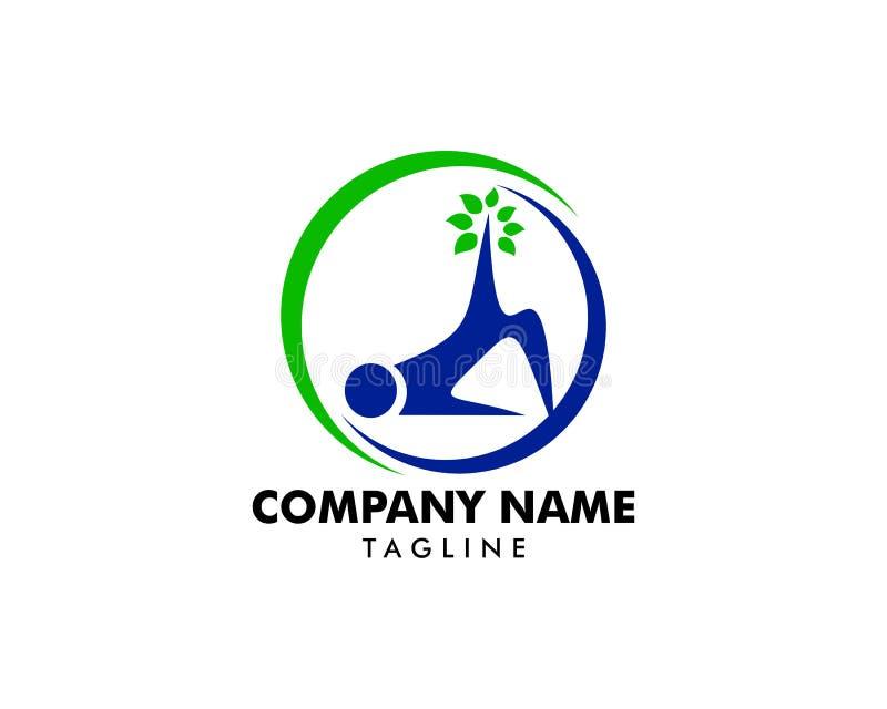 Plantilla del vector del icono del logotipo de la gimnasia de Pilates stock de ilustración